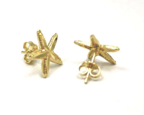 12MM 14K YELLOW GOLD HAWAIIAN SEA STAR STARFISH POST STUD EARRINGS DIAMOND CUT