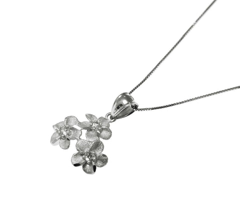 14.5MM SOLID 14K WHITE GOLD HAWAIIAN 3 PLUMERIA FLOWER PENDANT CHARM