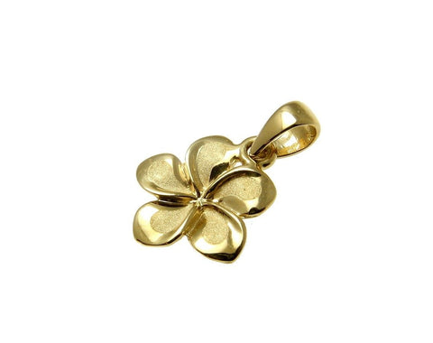 11MM SOLID 14K YELLOW GOLD HAWAIIAN FANCY PLUMERIA FLOWER CHARM PENDANT