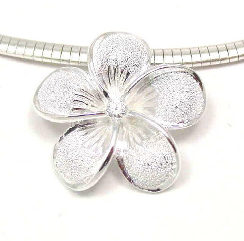 30MM STERLING SILVER 925 HAWAIIAN PLUMERIA FLOWER CZ SLIDER PENDANT