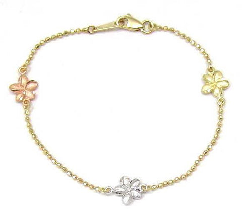14K TRICOLOR GOLD 2 SIDED HAWAIIAN PLUMERIA DIAMOND CUT BEAD CHAIN ANKLET 10""