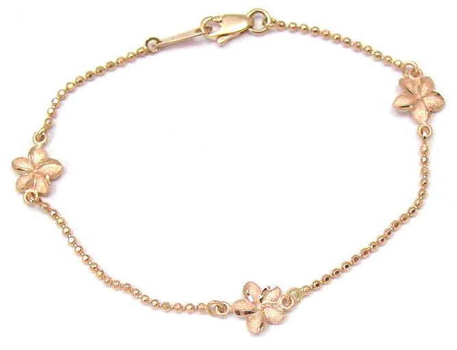 SOLID 14K ROSE GOLD 2 SIDED HAWAIIAN PLUMERIA DIAMOND CUT BEAD CHAIN BRACELET