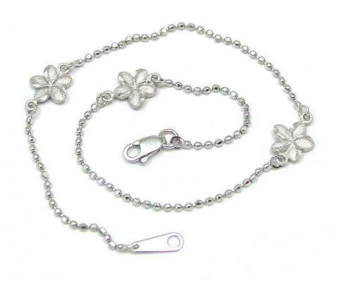 SOLID 14K WHITE GOLD 2 SIDED HAWAIIAN PLUMERIA DIAMOND CUT BEAD CHAIN ANKLET 10""