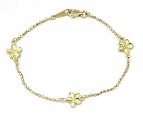 SOLID 14K YELLOW GOLD 2 SIDED HAWAIIAN PLUMERIA DIAMOND CUT BEAD CHAIN ANKLET 9""