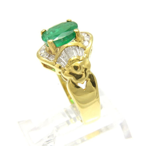 1.06CT GENIUNE NATURAL EMERALD & DIAMOND RING SET IN HEAVY SOLID 18K YELLOW GOLD