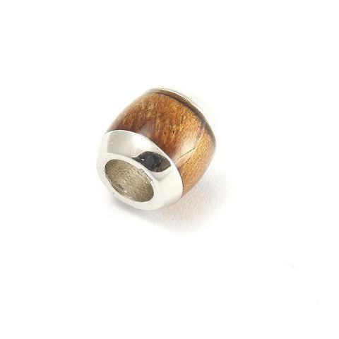 GENUINE INLAY HAWAIIAN KOA WOOD BARREL BEAD SLIDE CHARM PENDANT 925 SILVER 9.3MM