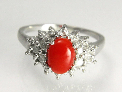 5.7MMX7.85MM GENIUNE NATURAL RED CORAL DIAMOND RING SET IN SOLID 14K WHITE GOLD