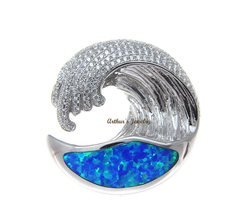 SOLID 925 STERLING SILVER OPAL HAWAIIAN OCEAN WAVE PENDANT BLING CZ 29.50MM