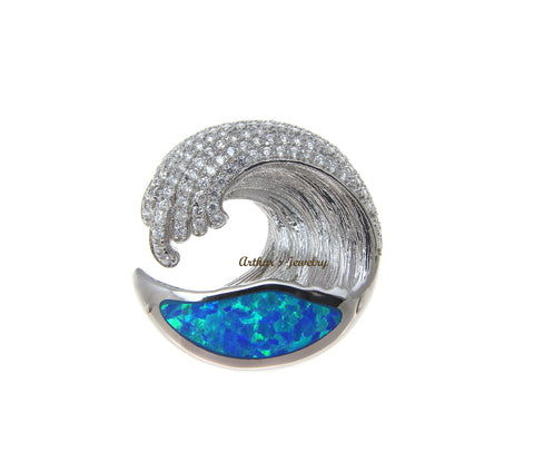 SOLID 925 STERLING SILVER OPAL HAWAIIAN OCEAN WAVE PENDANT BLING CZ 21.50MM