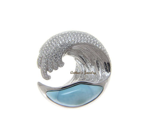 SOLID 925 STERLING SILVER LARIMAR HAWAIIAN OCEAN WAVE PENDANT BLING CZ 29.50MM