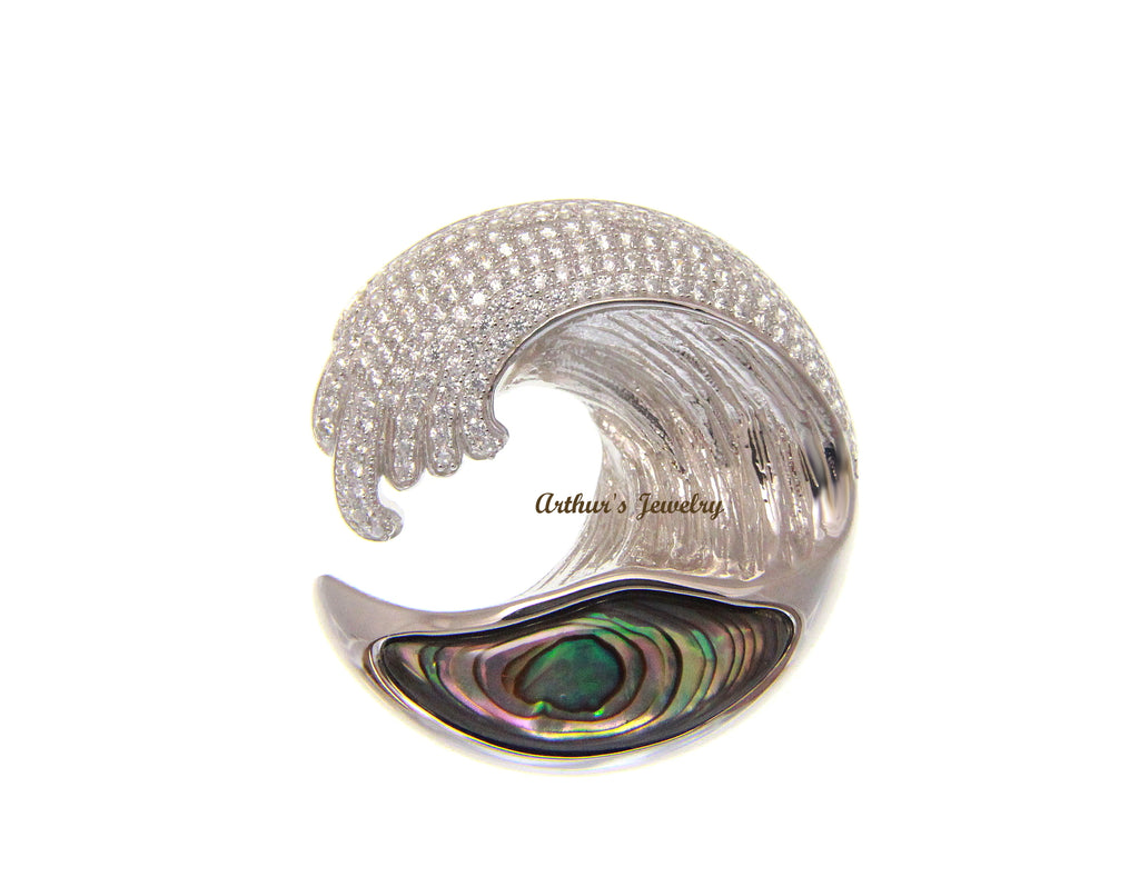 ABALONE PAUA SHELL 925 SILVER HAWAIIAN OCEAN WAVE PENDANT BLING CZ 29.50MM