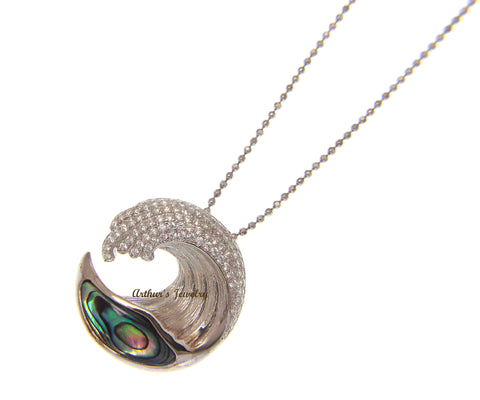 ABALONE PAUA SHELL SOLID 925 SILVER HAWAIIAN OCEAN WAVE PENDANT BLING CZ 21.50MM