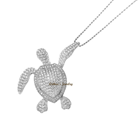 925 SILVER RHODIUM PLATED BLING CZ 34MM HAWAIIAN SEA TURTLE SLIDER PENDANT