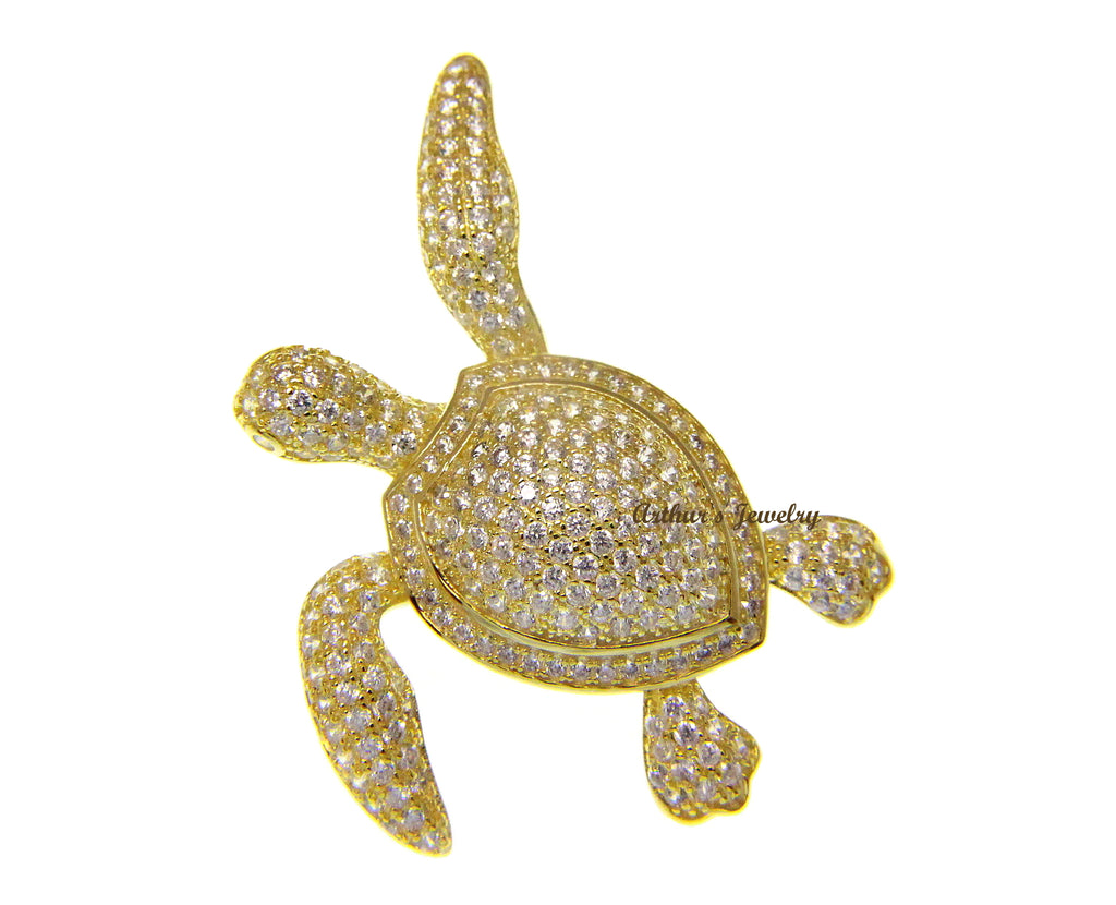 925 SILVER YELLOW GOLD PLATED BLING CZ 34MM HAWAIIAN SEA TURTLE SLIDER PENDANT