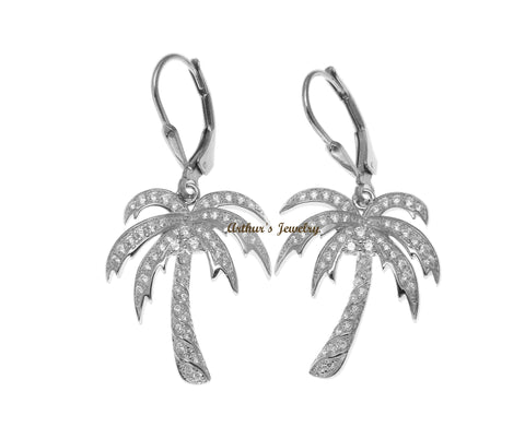 RHODIUM PLATED SILVER 925 BLING CZ HAWAIIAN PALM TREE LEVERBACK EARRINGS