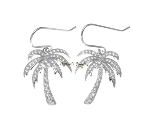 RHODIUM PLATED STERLING SILVER 925 BLING CZ HAWAIIAN PALM TREE HOOK EARRINGS