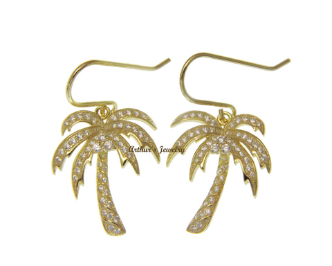 YELLOW GOLD PLATED STERLING SILVER 925 BLING CZ HAWAIIAN PALM TREE HOOK EARRINGS