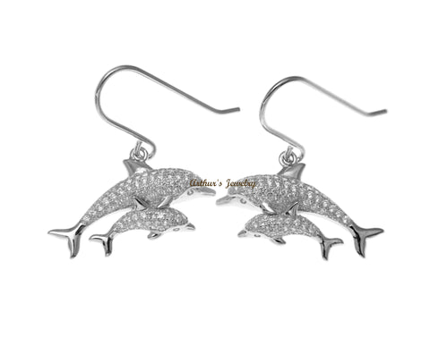 RHODIUM PLATED SILVER 925 CZ HAWAIIAN DOLPHIN MOTHER BABY HOOK EARRINGS