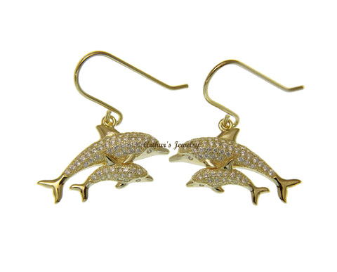 YELLOW GOLD PLATED SILVER 925 CZ HAWAIIAN DOLPHIN MOTHER BABY HOOK EARRINGS