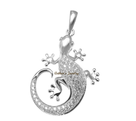 Yellow gold plated 925 sterling silver Hawaiian dolphin cz 36mm pendant