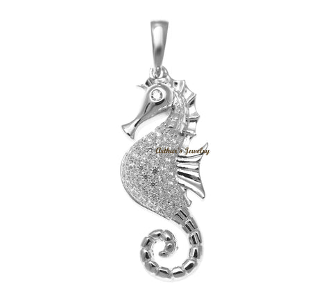 RHODIUM PLATED 925 STERLING SILVER HAWAIIAN SEAHORSE PENDANT BLING CZ 12.60MM