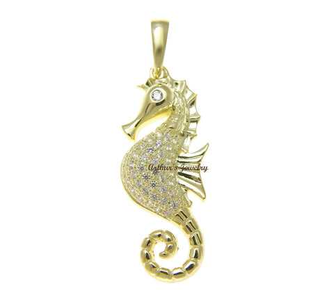 YELLOW GOLD PLATED 925 STERLING SILVER HAWAIIAN FISH BONE PENDANT CZ 13MM