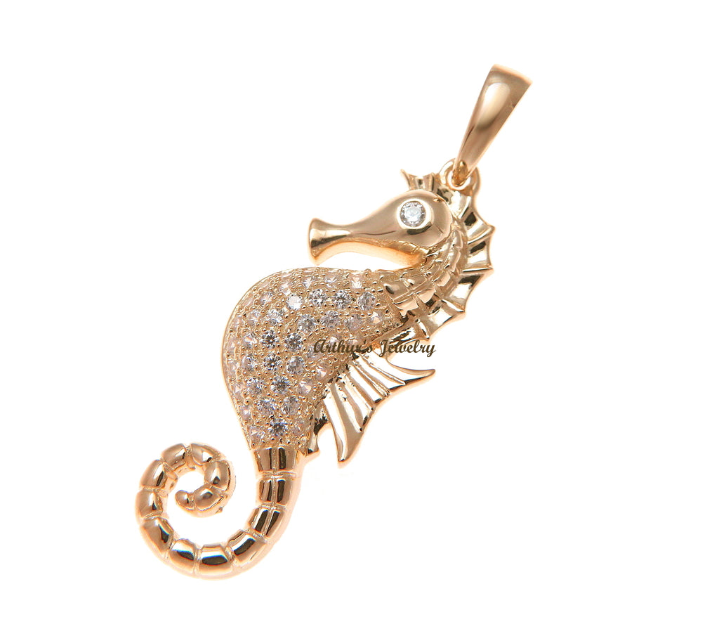 Rose Gold-plated Silver 24mm Seahorse Pendant