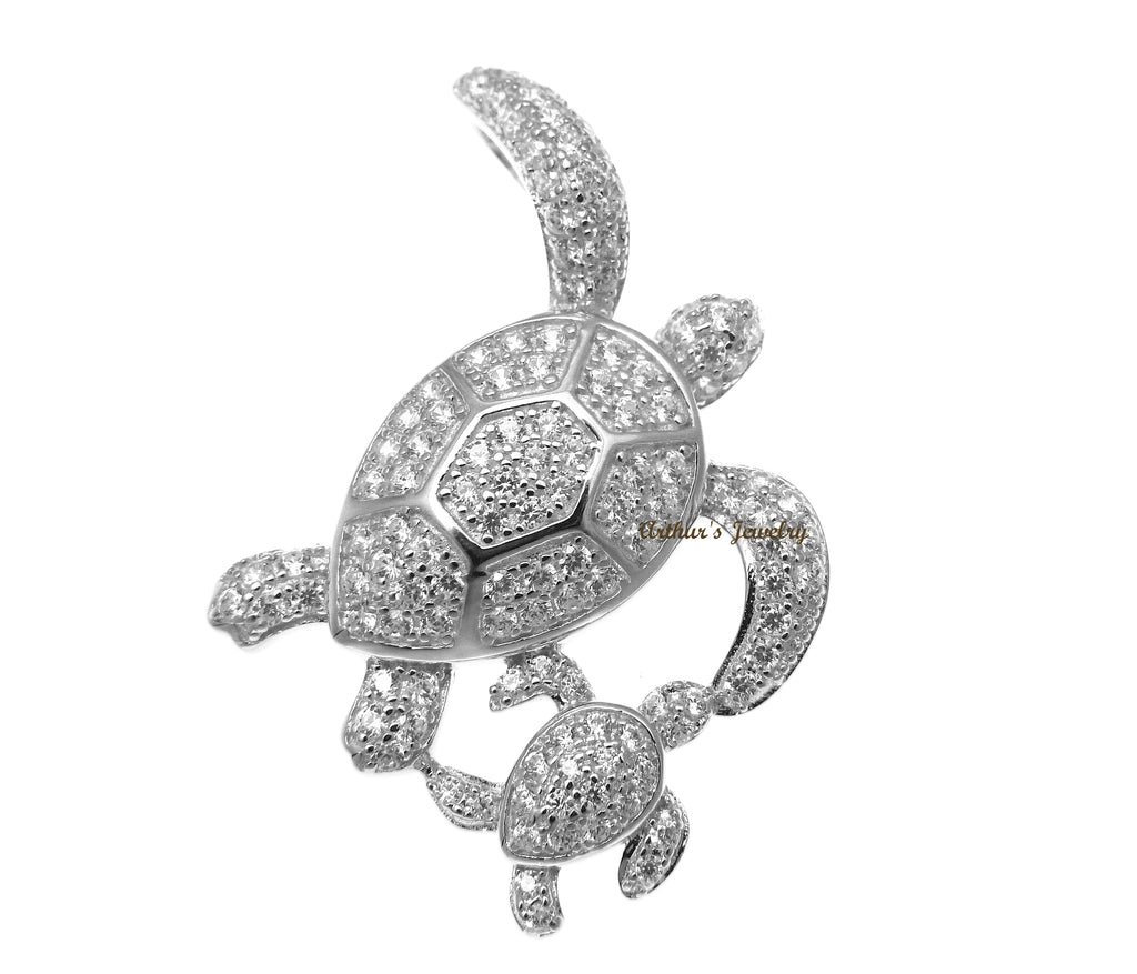 RHODIUM PLATED 925 SILVER HAWAIIAN SEA TURTLE MOTHER BABY SLIDE PENDANT CZ