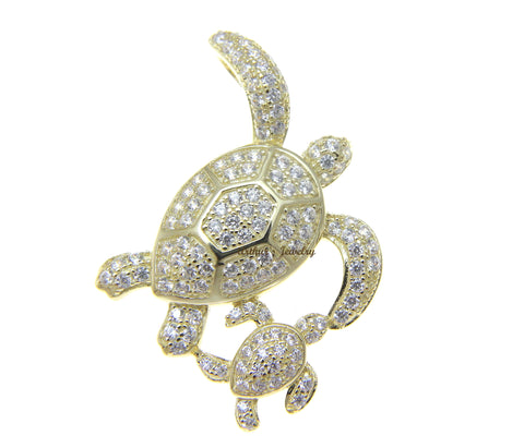 YELLOW GOLD PLATED 925 SILVER HAWAIIAN SEA TURTLE MOTHER BABY SLIDE PENDANT CZ