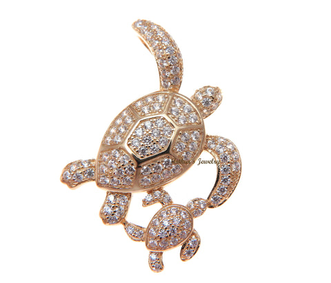 ROSE GOLD PLATED 925 SILVER HAWAIIAN SEA TURTLE MOTHER BABY SLIDE PENDANT CZ