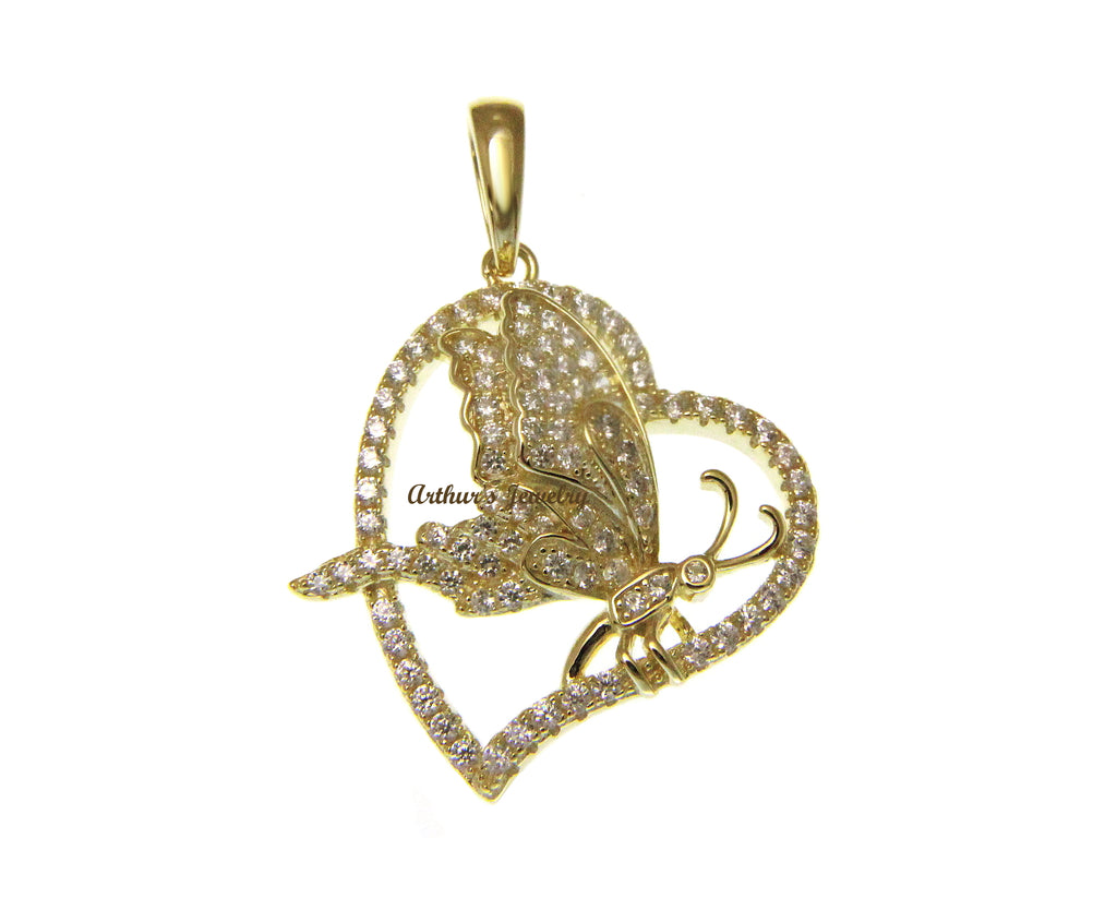 YELLOW GOLD PLATED STERLING SILVER 925 BLING CZ BUTTERFLY HEART PENDANT 24MM