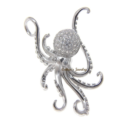 SOLID 925 STERLING SILVER RHODIUM HAWAIIAN OCTOPUS SLIDE PENDANT BLING CZ 29.60MM