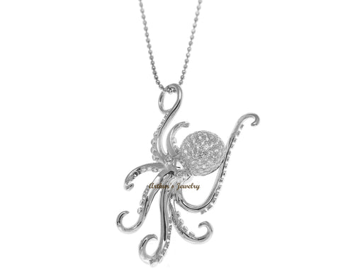 RHODIUM PLATED SOLID 925 STERLING SILVER HAWAIIAN OCTOPUS SLIDE PENDANT CZ 29MM