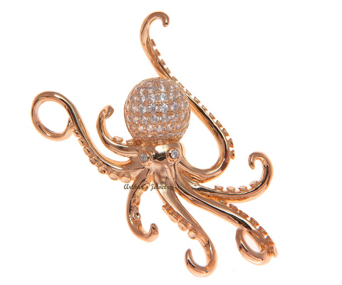 ROSE GOLD PLATED SOLID 925 STERLING SILVER HAWAIIAN OCTOPUS SLIDE PENDANT CZ 29MM