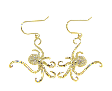 YELLOW GOLD PLATED 925 STERLING SILVER HAWAIIAN OCTOPUS HOOK EARRINGS BLING CZ