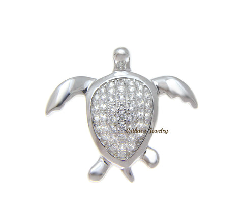 SOLID 925 STERLING SILVER RHODIUM HAWAIIAN SEA TURTLE SLIDE PENDANT CZ 23.80MM