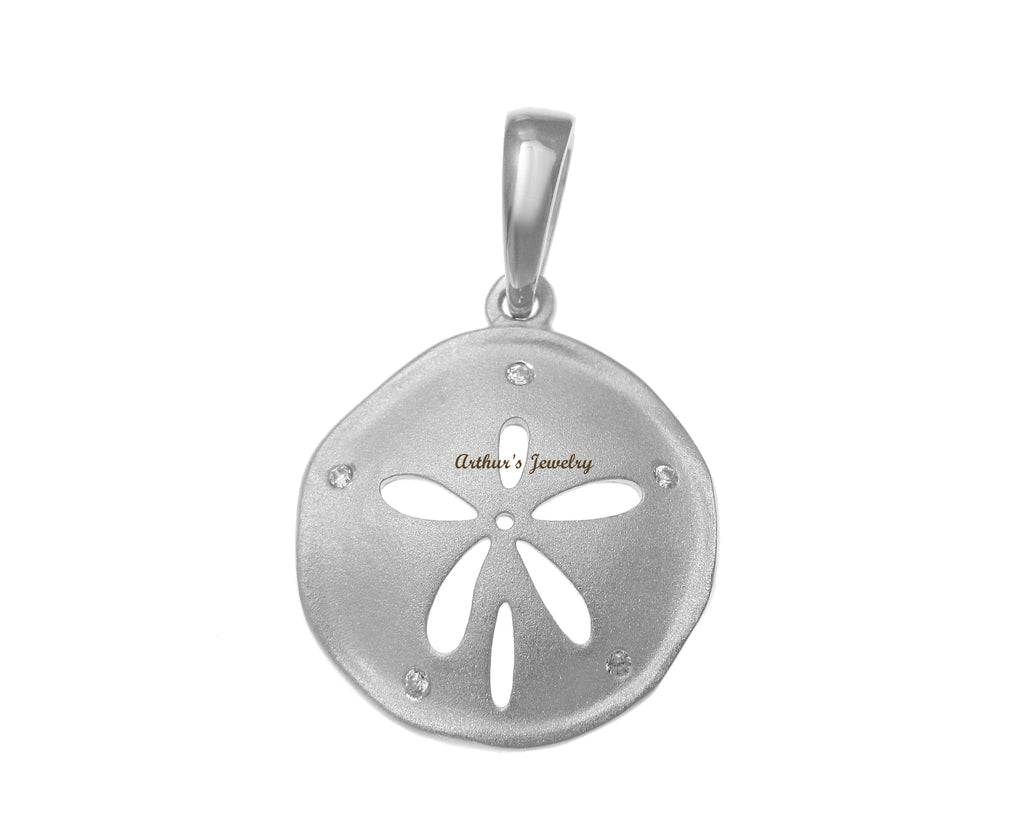 RHODIUM PLATED 925 STERLING SILVER HAWAIIAN SAND DOLLAR PENDANT CZ 16.50MM