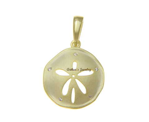 YELLOW GOLD PLATED 925 STERLING SILVER HAWAIIAN SAND DOLLAR PENDANT CZ 16.50MM