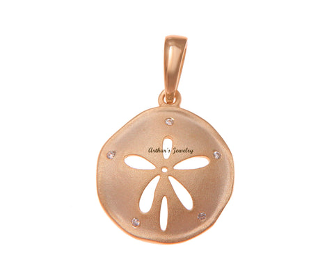 ROSE GOLD PLATED 925 STERLING SILVER HAWAIIAN SAND DOLLAR PENDANT CZ 16.50MM