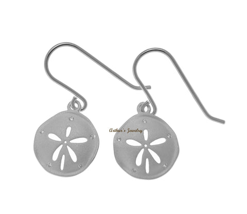 RHODIUM PLATED 925 STERLING SILVER HAWAIIAN SAND DOLLAR HOOK EARRINGS CZ 14MM