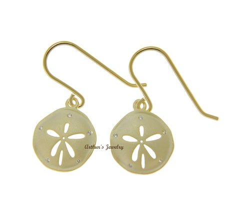 YELLOW GOLD PLATED 925 SILVER HAWAIIAN SAND DOLLAR HOOK EARRINGS CZ 14MM
