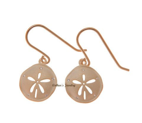 ROSE GOLD PLATED 925 SILVER HAWAIIAN SAND DOLLAR HOOK EARRINGS CZ 14MM