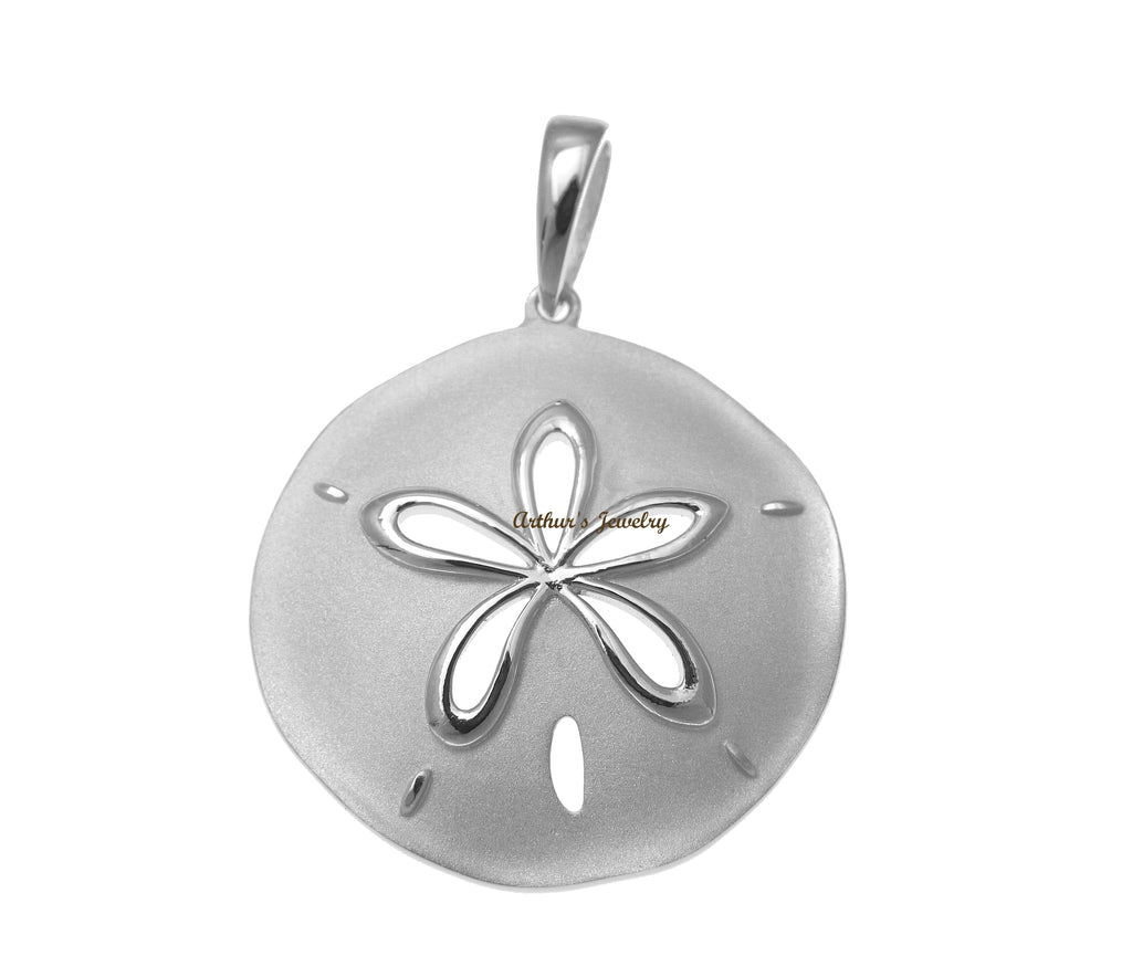 RHODIUM PLATED 925 STERLING SILVER HAWAIIAN SAND DOLLAR PENDANT 29.50MM