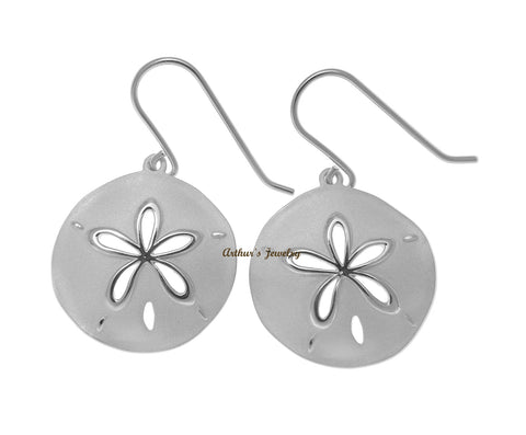 RHODIUM PLATED 925 STERLING SILVER HAWAIIAN SAND DOLLAR HOOK EARRINGS 21.50MM