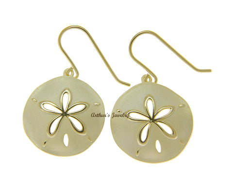 YELLOW GOLD PLATED 925 SILVER HAWAIIAN SAND DOLLAR HOOK EARRINGS 21.50MM