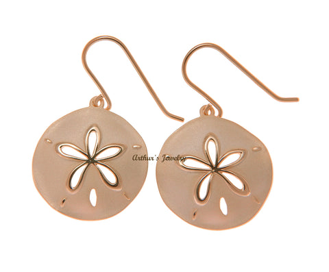 ROSE GOLD PLATED 925 STERLING SILVER HAWAIIAN SAND DOLLAR HOOK EARRINGS 21.50MM