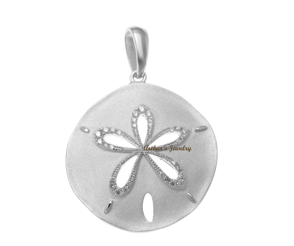 RHODIUM PLATED 925 STERLING SILVER HAWAIIAN SAND DOLLAR PENDANT CZ 24.50MM