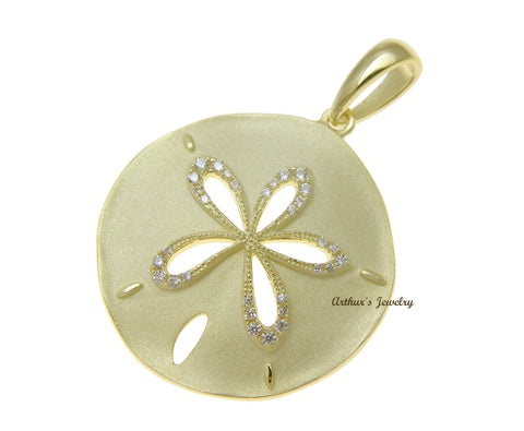 YELLOW GOLD PLATED 925 STERLING SILVER HAWAIIAN SAND DOLLAR PENDANT CZ 24.50MM
