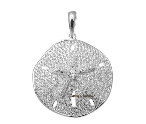 RHODIUM PLATED 925 STERLING SILVER HAWAIIAN SAND DOLLAR PENDANT CZ 29MM