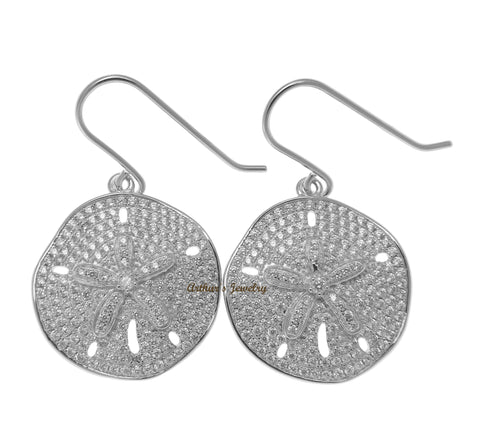 RHODIUM PLATED 925 SILVER HAWAIIAN SAND DOLLAR HOOK EARRINGS CZ 21.50MM